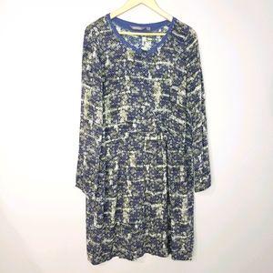 Sandwich Long Sleeve XXLarge Blue Print Dress
